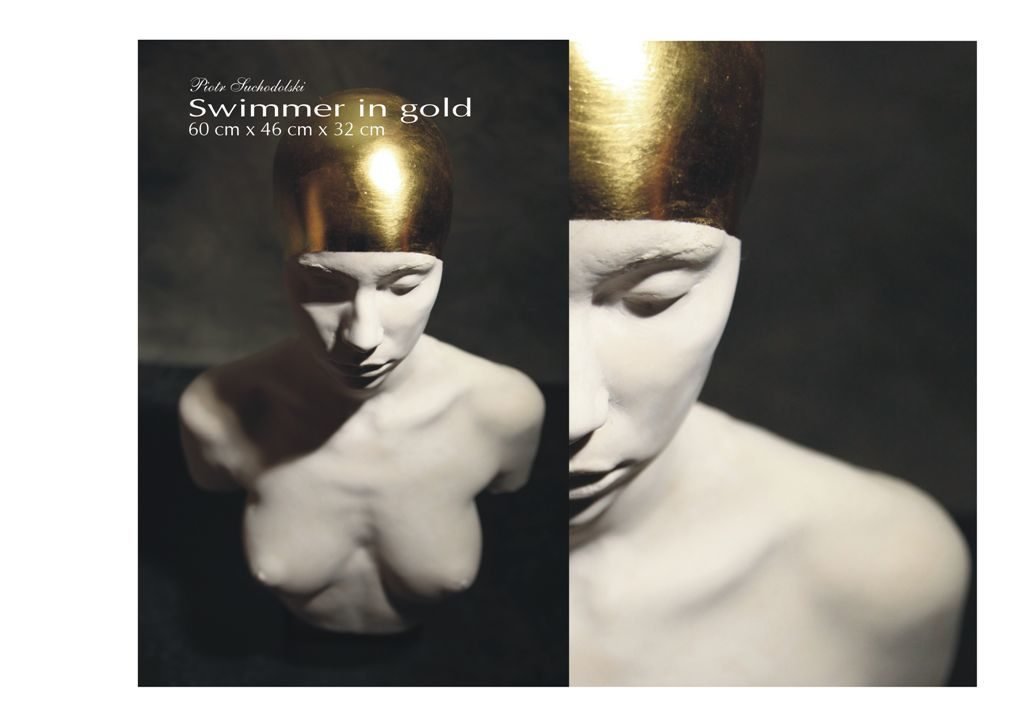 Swimmer in Gold, technika własna, złocenie 24 Kt, Piotr Suchodolski - Gratia Artis
