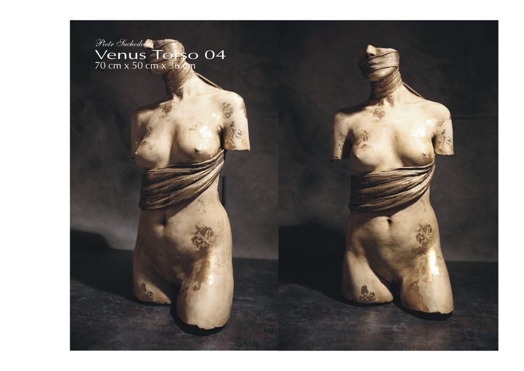 Venus Torso 04 a, technika własna, polichromowana, złocenie 24 Kt , Piotr Suchodolski - Gratia Artis